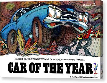 Gratiot Canvas Print - 1969 Plymouth Road Runner - Car Of The Year by Digital Repro Depot