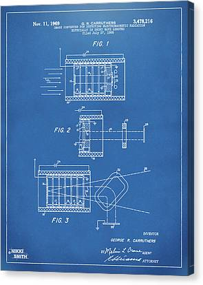 Canvas Print featuring the digital art 1969 Short Wave Electromagnetic Radiation Patent Blueprint by Nikki Marie Smith