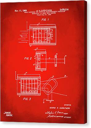 Canvas Print featuring the digital art 1969 Short Wave Electromagnetic Radiation Patent Red by Nikki Marie Smith