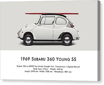 1969 Subaru 360 Young Ss - Creme Canvas Print by Ed Jackson