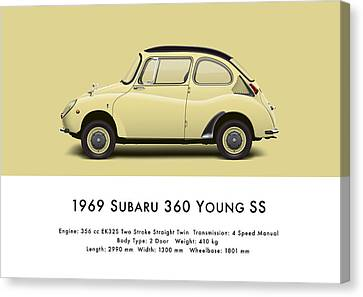 1969 Subaru 360 Young Ss - Light Yellow Canvas Print by Ed Jackson