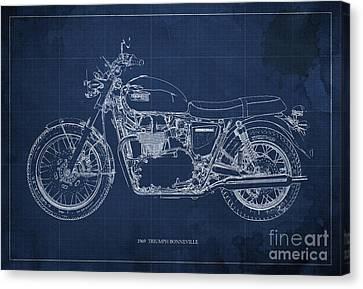 1969 Triumph Bonneville Blueprint Blue Background Canvas Print by Pablo Franchi
