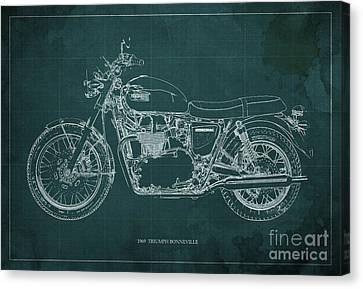 1969 Triumph Bonneville Blueprint Green Background Canvas Print by Pablo Franchi