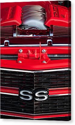 1970 Chevrolet Chevelle Ss Grille Emblem - Engine -0171c Canvas Print by Jill Reger