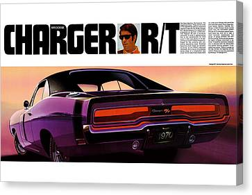 Gratiot Canvas Print - 1970 Dodge Charger Rt by Digital Repro Depot