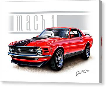 Ford Muscle Car Canvas Print - 1970 Mustang Mach 1 Red by David Kyte
