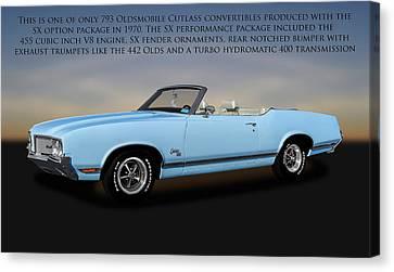 Canvas Print featuring the photograph 1970 Oldsmobile Cutlass Sx 455 Convertible   -   1970cutlasssxwithtext170496 by Frank J Benz