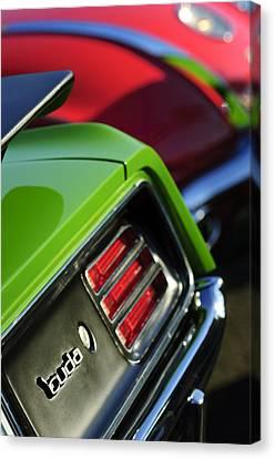 Plymouth Barracuda Canvas Print - 1970 Plymouth Barracuda Cuda Taillight Emblem by Jill Reger