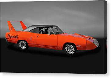 Canvas Print featuring the photograph 1970 Plymouth Road Runner Superbird  -  1970plysuperbirdgry170528 by Frank J Benz