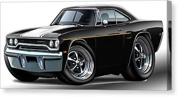 1970 Roadrunner Black Car Canvas Print by Maddmax