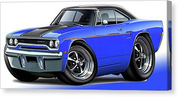 1970 Roadrunner Blue Car Canvas Print by Maddmax