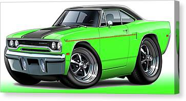 1970 Roadrunner Green Car Canvas Print by Maddmax