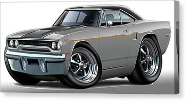 1970 Roadrunner Grey Car Canvas Print by Maddmax