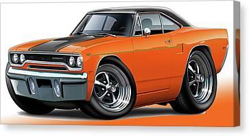 1970 Roadrunner Orange Car Canvas Print by Maddmax