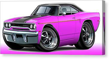 1970 Roadrunner Pink Car Canvas Print by Maddmax