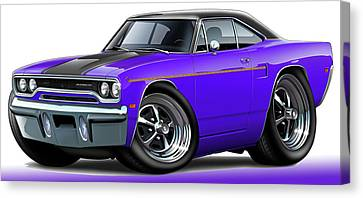 1970 Roadrunner Purple Car Canvas Print by Maddmax