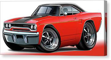 1970 Roadrunner Red Car Canvas Print by Maddmax