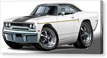 1970 Roadrunner White Car Canvas Print by Maddmax