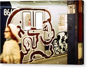Tntar Canvas Print - 1970s America. Graffiti On A Subway Car by Everett