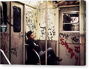 1970s America. Graffiti On A Subway Canvas Print by Everett