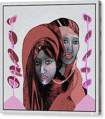 Canvas Print featuring the digital art 1971- Rosecoloured Portrait 2017 by Irmgard Schoendorf Welch