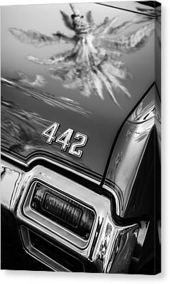 1971 Oldsmobile 442 Convertible Taillight Emblem -0445bw Canvas Print by Jill Reger