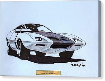 1972 Barracuda  Cuda Plymouth Vintage Styling Design Concept Sketch  Canvas Print by John Samsen