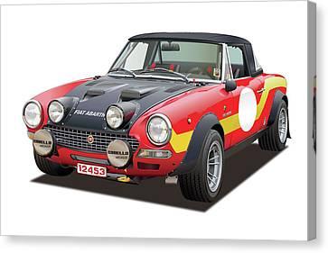 European Championship Canvas Print - 1972 Fiat Abarth 124 Rally Illustration by Alain Jamar