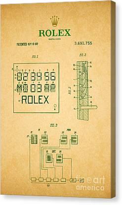 1972 Rolex Digital Clock Patent 2 Canvas Print by Nishanth Gopinathan
