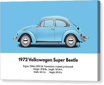 1972 Volkswagen Super Beetle - Marina Blue Canvas Print