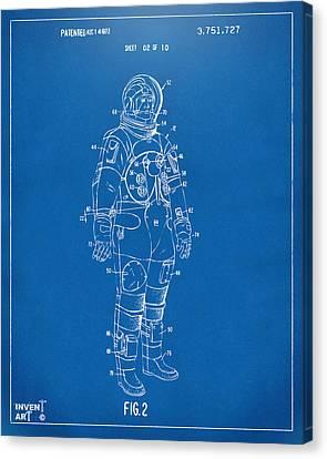 1973 Astronaut Space Suit Patent Artwork - Blueprint Canvas Print by Nikki Marie Smith