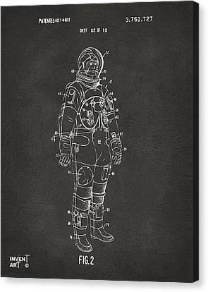 1973 Astronaut Space Suit Patent Artwork - Gray Canvas Print by Nikki Marie Smith