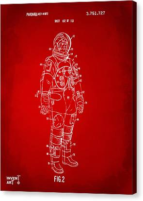 1973 Astronaut Space Suit Patent Artwork - Red Canvas Print by Nikki Marie Smith