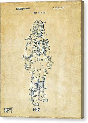 1973 Astronaut Space Suit Patent Artwork - Vintage Canvas Print by Nikki Marie Smith