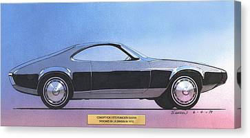 1973 Duster  Plymouth  Vintage Styling Design Concept Sketch Canvas Print