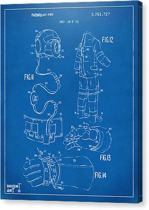 1973 Space Suit Elements Patent Artwork - Blueprint Canvas Print by Nikki Marie Smith