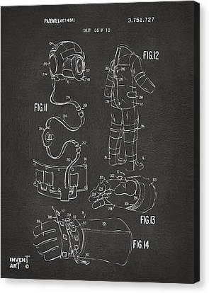1973 Space Suit Elements Patent Artwork - Gray Canvas Print by Nikki Marie Smith
