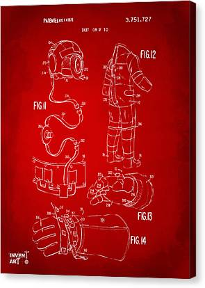 1973 Space Suit Elements Patent Artwork - Red Canvas Print by Nikki Marie Smith