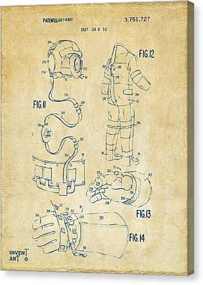 1973 Space Suit Elements Patent Artwork - Vintage Canvas Print by Nikki Marie Smith