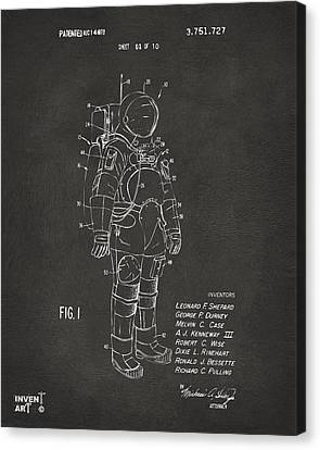Science Fiction Canvas Print - 1973 Space Suit Patent Inventors Artwork - Gray by Nikki Marie Smith