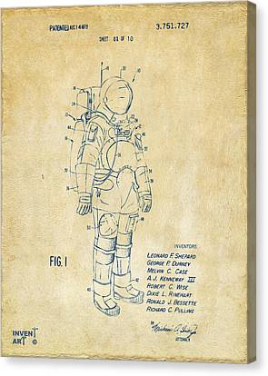 1973 Space Suit Patent Inventors Artwork - Vintage Canvas Print by Nikki Marie Smith