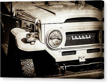 Grill Canvas Print - 1973 Toyota Fj40 Land Cruiser Grille Emblem -1918s by Jill Reger