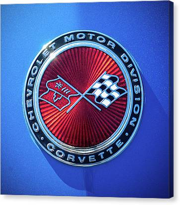 Sting Ray Canvas Print - 1974 Corvette Sting Ray Convertible Emblem by Jill Reger