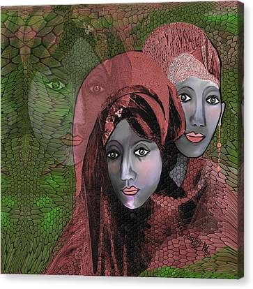 Canvas Print featuring the digital art 1974 - Women In Rosecoloured Clothes - 2017 by Irmgard Schoendorf Welch