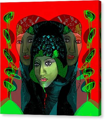 Canvas Print featuring the digital art 1975 - Mystery Woman by Irmgard Schoendorf Welch