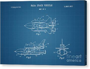 1975 Nasa Space Shuttle Patent Art 4 Canvas Print by Nishanth Gopinathan