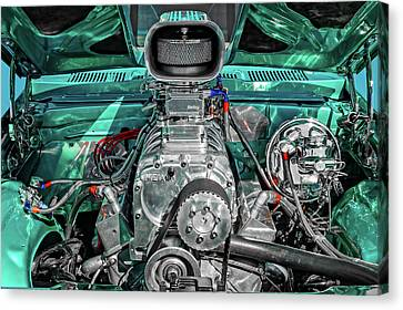 Canvas Print featuring the photograph 1975 Pontiac Ventura Engine Detail   -   1975pontiacv8enginedetail170550 by Frank J Benz