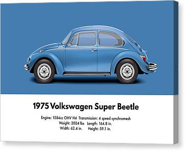 1975 Volkswagen Super Beetle - Ancona Blue Metallic Canvas Print by Ed Jackson