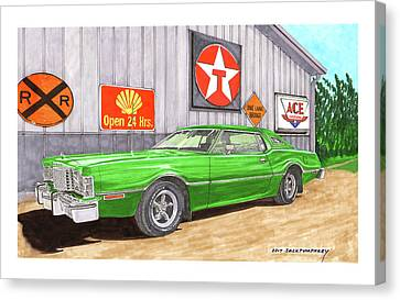Canvas Print featuring the painting 1976 Ford Thunderbird by Jack Pumphrey
