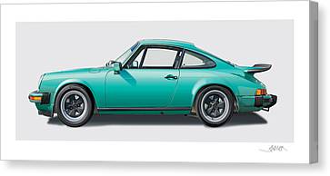 1976 Porsche Euro Carrera 2.7 Illustration Canvas Print